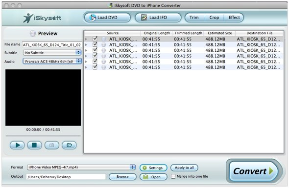iSkySofts DVD to iPhone Converter